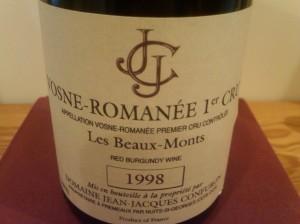 Jean-Jacques Confuron, Vosne-Romanée, Les Beaux Monts 1er Cru 1998