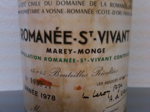Domaine de la Romanée-Conti Marey-Monge, Vosne-Romanee Romanee-Saint-Vivant Grand Cru 1978