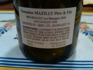 Mazilly Meursault Meurgers 2010 #1