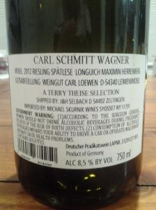 Carl Schmitt-Wagner Spatlese Maximin Herrenberg 2012 #2