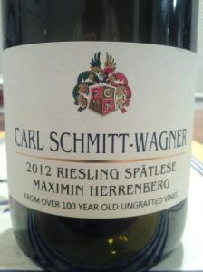 Carl Schmitt-Wagner Spatlese Maximin Herrenberg 2012