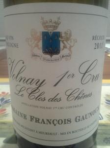 Francois Gaunoux Volnay Chenes 2011