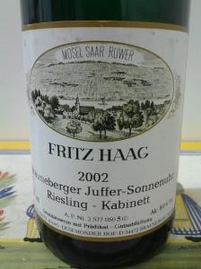 Fritz Haag Brauneberger Juffer Sonnenuhr Kabinett 2002