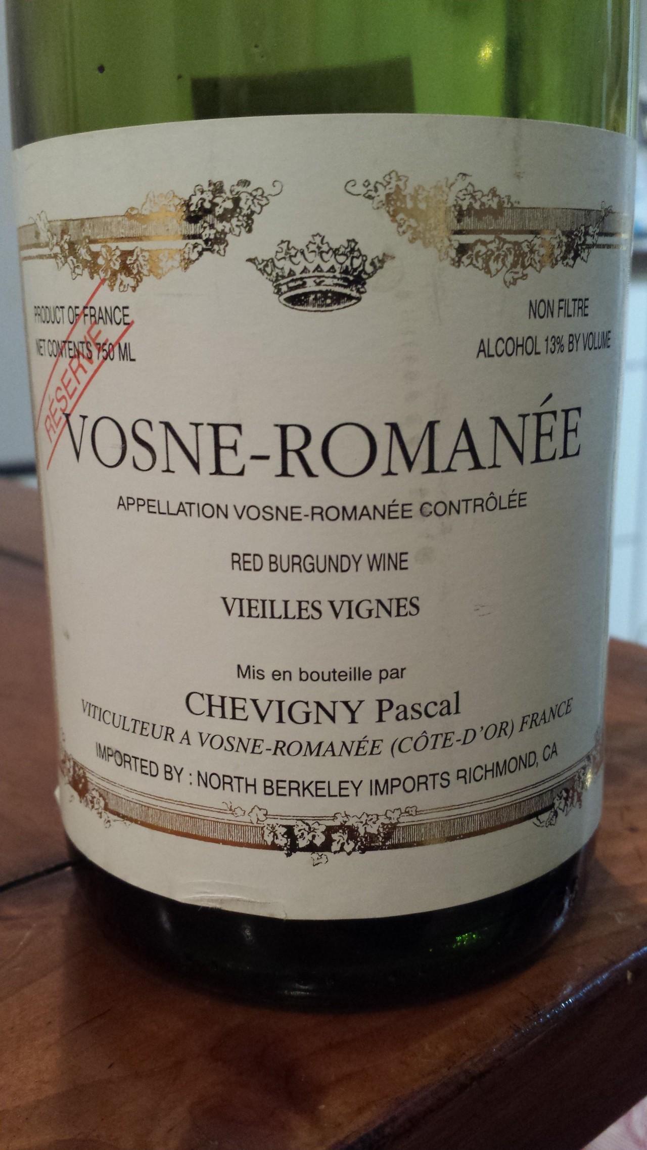 photo Chevigny Pascal Vosne-Romanee Vieilles Vignes Reserve
